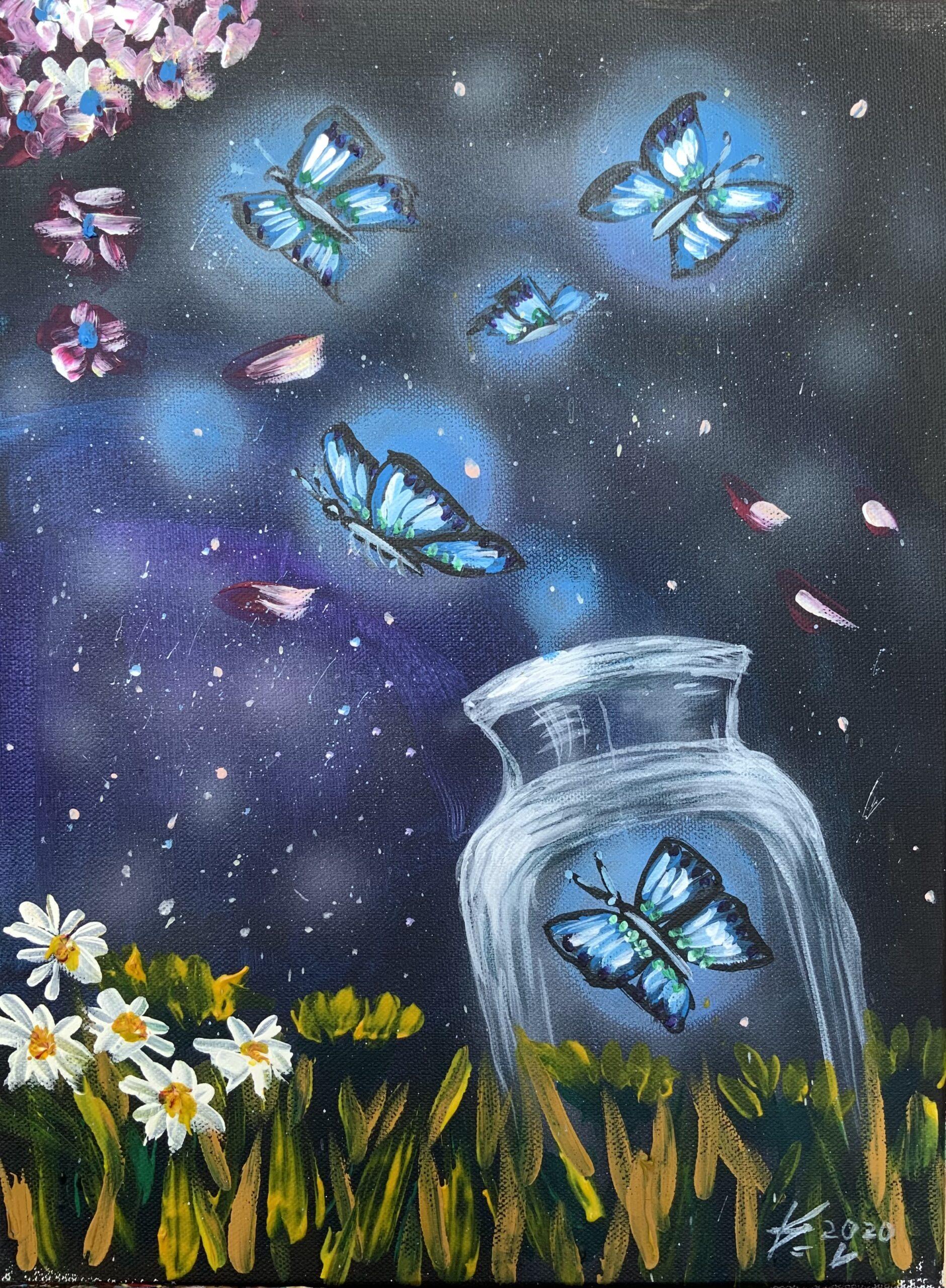 """""""Светещи пеперуди"""" (Картина акрил) – 40лв"""